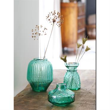 Soliflore en verre par lot de 3 vert