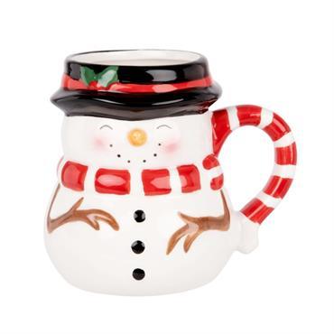 Mug bonhomme de neige en faïence multicolore