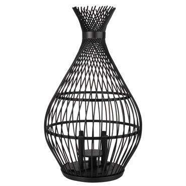 Lanterne en bambou torsadé noir et verre