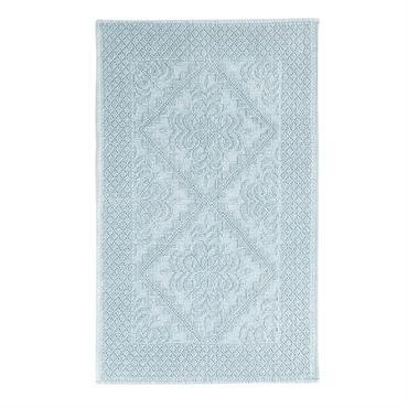 Tapis de bain en coton noué vert 65x100