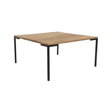 Table basse carrée en bois et métal 90x90cm Naturel