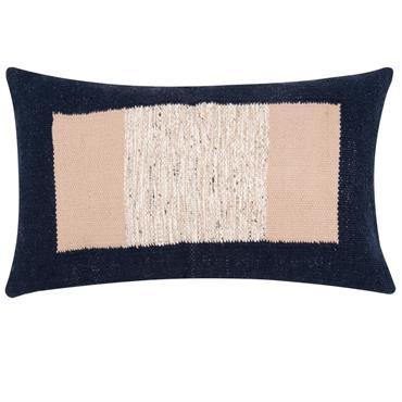 Housse de coussin en coton bleu et beige 30x50