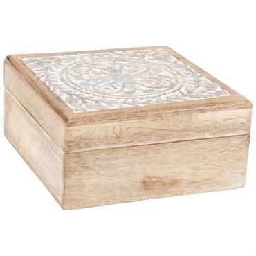 Boîte en manguier motif mandala sculpté et blanchi