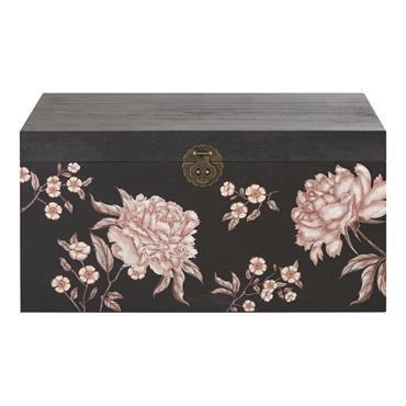 Le coffre noir imprimé floral multicolore MAYLI apportera la touche déco unique que votre salon attendait ! On aime son allure, qui concilie l'élégance du style exotique avec quelques notes ...