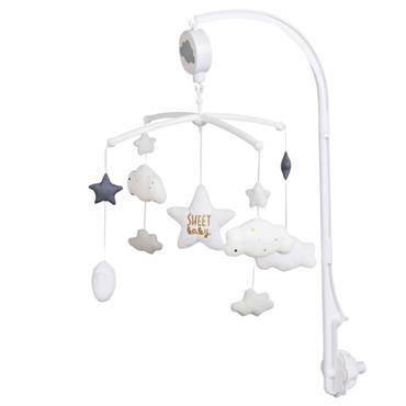 Mobile musical pour bébé en coton bleu et blanc