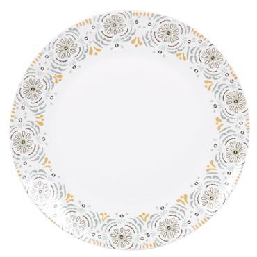 Assiette plate en faïence blanche frise bleue