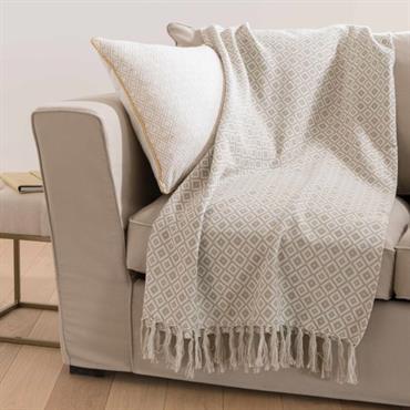 Jeté en coton motifs jacquard gris 130x170