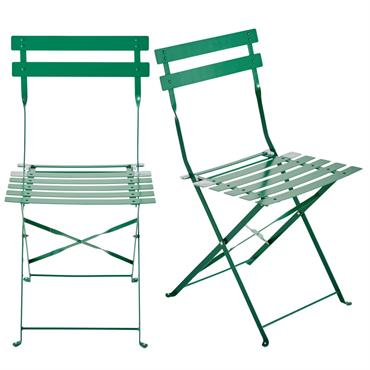 2 chaises pliantes de jardin en métal vert Confetti