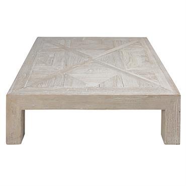 CHARME NATUREL Créez un salon à l'inspiration ethnique chic avec la table basse en orme massif BRUGES . SIMPLICITÉ Le plateau de cette table basse en bois recyclé présente un ...
