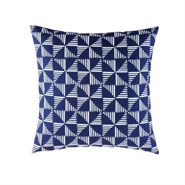 Coussin d'extérieur bleu motifs graphiques blancs 45x45