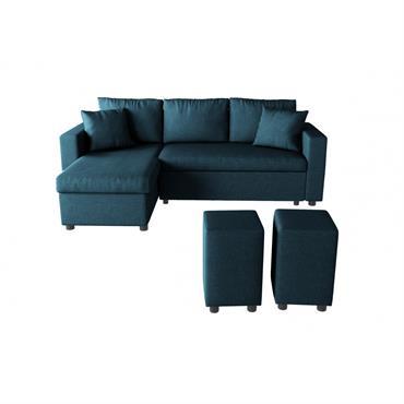 Canapé d'angle bleu réversible et convertible avec coffre et poufs