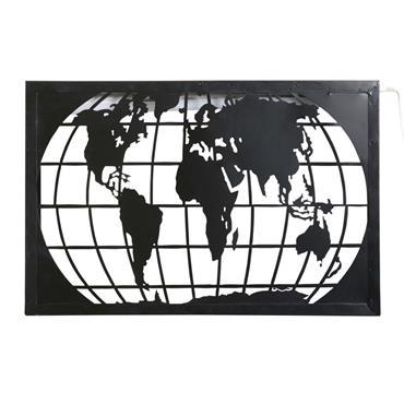 Applique carte du monde en métal noir découpé