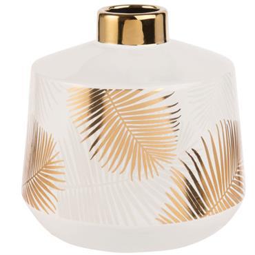 Vase en céramique blanche imprimé palmiers dorés H18