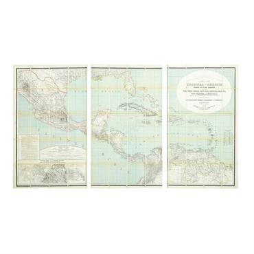 Triptyque carte Amérique centrale 180x105