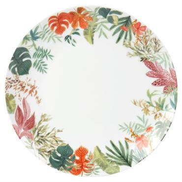 Assiette plate en porcelaine blanche imprimé floral vert et rose