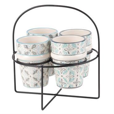 4 tasses en faïence imprimée avec support en bambou