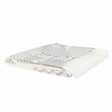 Plaid en coton motifs à rayures blanches et grises 160x210