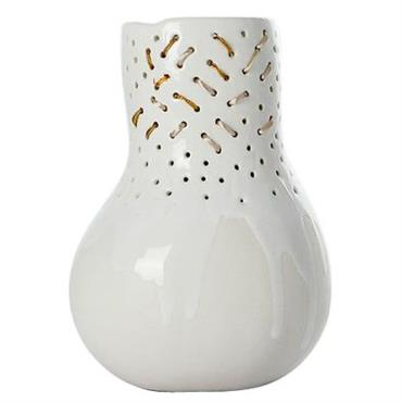 Vase Butternut Embroidery / Ø 15 x 21 cm - Domestic blanc