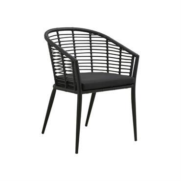 Chaise de jardin avec accoudoirs et coussin