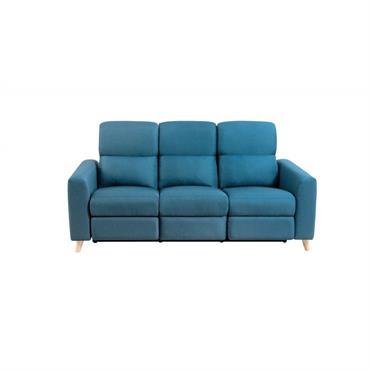 Canapé de relaxation scandinave 3 places en tissu bleu