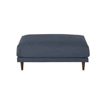 Pouf de canapé en coton et lin bleu marine Raoul