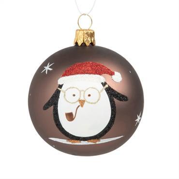 Boule de Noël en verre marron imprimé chouette