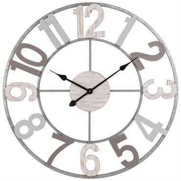 Horloge en sapin et métal gris