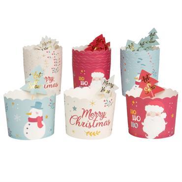 Coffret caissettes à cupcakes en papier multicolore imprimé