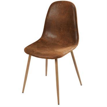 Chaise style scandinave en microsuède marron vieilli Clyde