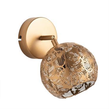 Applique ronde en métal ajouré doré