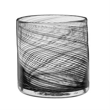 Photophore en verre imprimé spirale noire