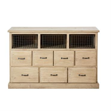 Cabinet 7 tiroirs en pin recyclé Valmont
