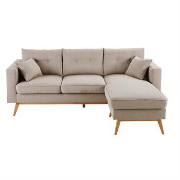 Canapé d'angle 4/5 places beige