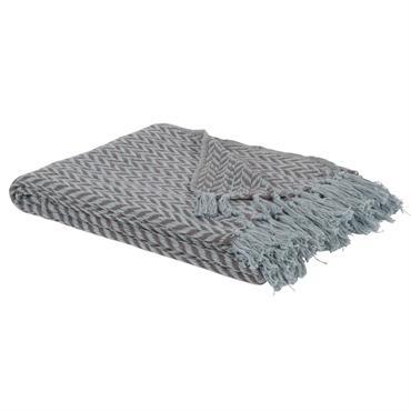 Plaid en coton tissé jacquard motifs à chevrons gris et blancs 130x160