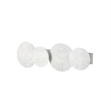 Applique 4 disques en métal blanc effet vieilli
