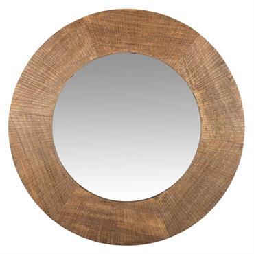 Miroir rond en manguier gravé D55