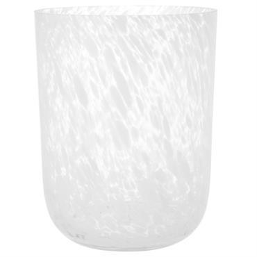 Photophore en verre effet marbré blanc