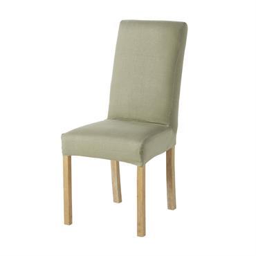 Housse de chaise en lin lavé vert kaki
