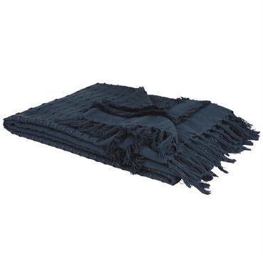Plaid en coton bleu marine 160x210