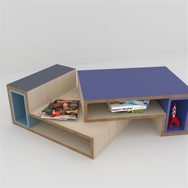 Imaginez une table basse design multiforme qui s'assemble bien droite, de travers, avec ou sans décrochés grâce à des caissons ... Domozoom