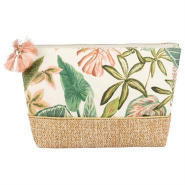 Trousse de toilette motif végétal avec pompon