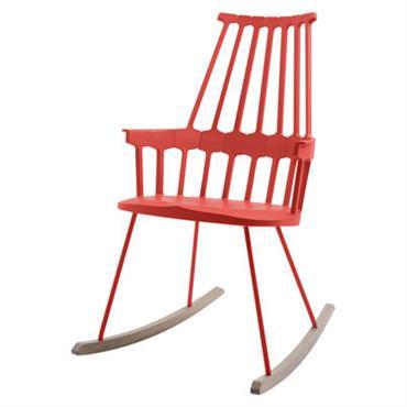 Rocking chair Comback / Polycarbonate & pieds bois - Kartell bois