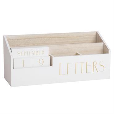 Porte-courrier calendrier perpétuel blanc