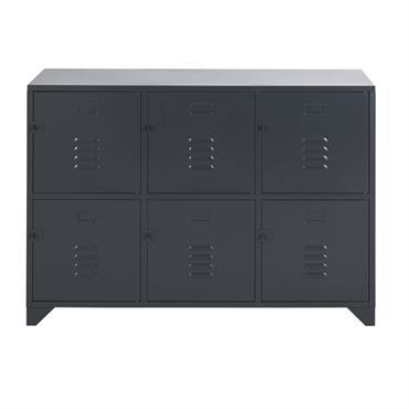 Cabinet de rangement 6 tiroirs en métal gris anthracite