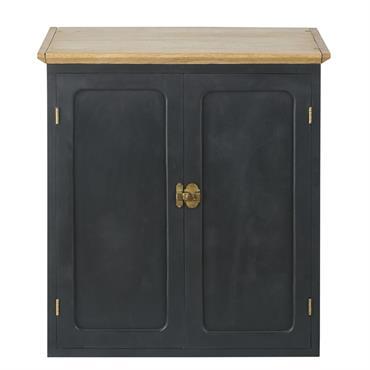Meuble haut de cuisine 2 portes en manguier massif gris ardoise L60 Cezanne