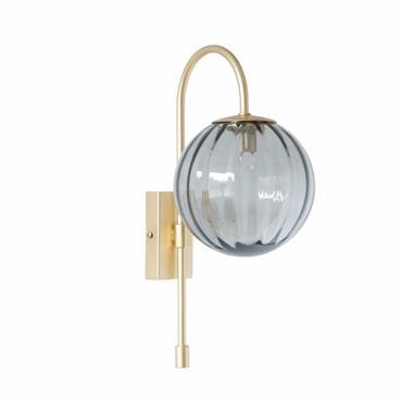 Applique en métal doré globe en verre strié teinté gris
