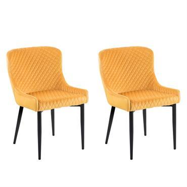 Lot de 2 chaises en velours jaune