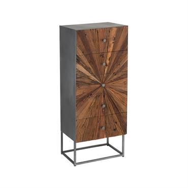 Commode haute moderne 5 tiroirs en bois