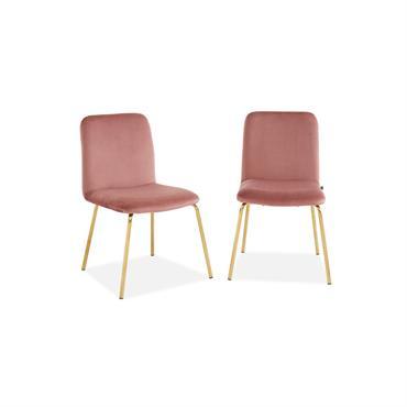 Lot de 2 chaises en velours rose piètement en métal doré
