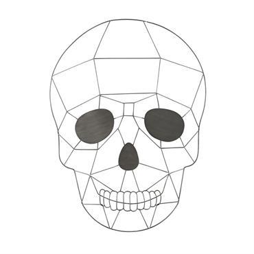 Déco murale tête de mort en métal gris 44x61